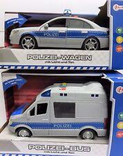 tolles Set: großes Polizeiauto + Polizeibus mit Licht, Sound, Sirene + Friktion