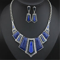 CHIC Women Crystal Statement Pendant Bib Necklace Earrings Fashion Jewelry Set
