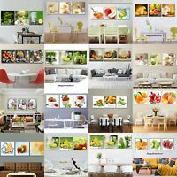 Healthy Fruits Painting Delicious Kitchen Poster Wall Art Decor 3pc Canvas Print
