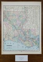 "Vintage 1900 LOUISIANA Map 11""x14"" Old Antique Original BATON ROUGE NATCHITOCHES"