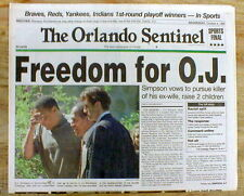 1995 newspaper OJ SIMPSON Trial Ends & HE VOWS TO FIND HIS Wifes REAL Killer