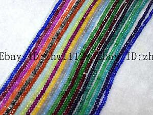 Fine 2x4mm Natural Faceted Ruby Sapphire Emerald Gemstone Loose Bead 15'' AAA