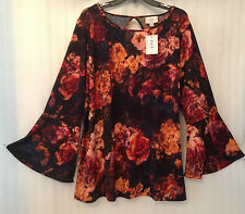 Eci N.Y Womens Blouse Plus size 22/24/2X Black Paisley Floral Tunic Boho Top New