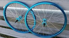 "20"" Cinema 333 Sealed Double Wall BMX Wheels Freewheel Pair Blue Anodized"
