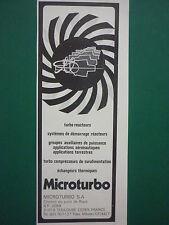 1983 PUB MICROTURBO TOULOUSE TURBINE A GAZ REACTEUR CIBLE ORIGINAL FRENCH AD