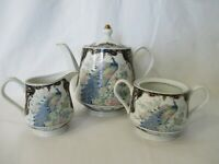 Vintage Exquisite Peacock and Gilt Intricate Service Set Tea Pot Creamer Sugar