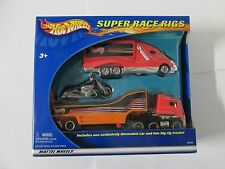 2002 Hot Wheels Super Race Rigs with red truck and motorcyle new in package