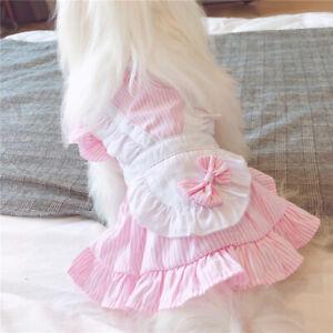 Striped Maid Skirt - Pet Dog Clothes Summer Teddy Bichon Frise Cat Puppy Dress