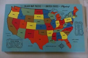 """Vintage Playskool Wood Inlaid US Map Puzzle No.750 Ding Dong School 19"""" x 12"""""""