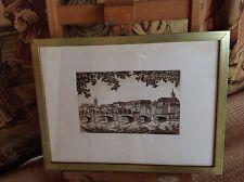 Encadrement  verre ancien  gravure du pont de Basel Allemagne signé  Reifen ?
