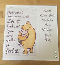 Handmade Personalised Winnie The Pooh Baby Shower / Leaving To Have A Baby Card