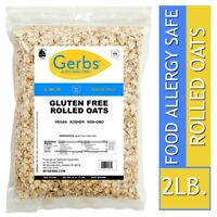 Gluten Free Rolled Oats, 2 LBS Food Allergy Safe, Vegan & Non GMO by Gerbs