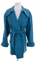 Vtg Ashley Scott Women Teal Wool Belted Peacoat Double Breasted Coat Sz 1X 18-20