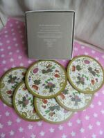 Set Of Six Boxed Cork Backed Wedgwood Coasters Round Floral Good Condition