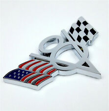 Universal For Car Body New V8 USA Racing Flag Emblem Badge Sticker Metal Chrome