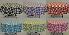 Round Gingham check Polyester Tablecloth Machine Washable Easy Iron