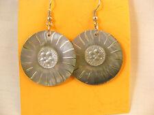 "Hook Dangle  Mother of Pearl Disc 1 1/4 "" W.Gray Earrings BD Gifts Metal Alloy"
