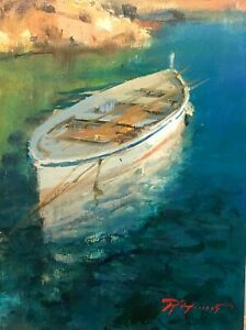 "Original Fine Art Painting by Raimondo Roberti titled ""Moments at Sea"""