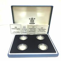 1990 - 1993 silver proof British one pound £1 coin collection BOX + COA