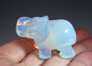 """1.5"""" Gorgeous Opalite Crystal Carving Elephant Nice Gift"""