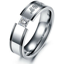 Fashion Couple Love Heart Stainless Steel Comfort Fit Wedding Band Promise Ring