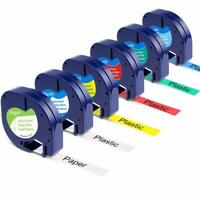 6Pk 91201 91202 91203 Compatible Dymo LetraTag Plastic 12mm Label Tape Laminated