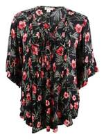 Style & Co. Women's Plus Size Pintucked Printed Tunic 1X, Island Trance