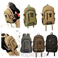 Mens School Laptop Backpack Canvas Travel Camping Casual Shoulder Bag Rucksack