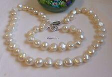 Genuine silver4A 11-12mm baroque freshwater pearl Necklace+bracelet L47+18cm WHT