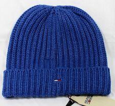 Tommy Hilfiger Denim Elliston Oversize Beanie Hat Cotton Blend Blue UNISEX NEW