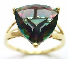 10KT YELLOW GOLD 10MM TRILLION CUT MYSTIC TOPAZ RING SIZE 7   R1438