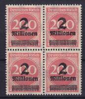 DR Mi Nr. 309 P ** 4er Block, Infla Ziffer Deutsches Reich 1923, postfrisch, MNH
