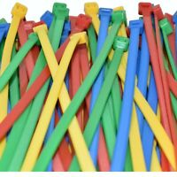 200 PACK OF 4.8 x 200mm CABLE TIES, 50 RED, 50 YELLOW, 50 BLUE & 50 GREEN