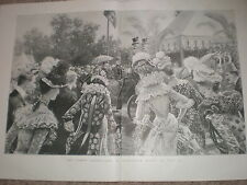 Queen Victoria Garden Party Buckingham Palace by S Begg 1900 old print