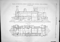 Old Engineering 1881 Tank Locomotive Bombay Baroda Central Indian Rai Victorian