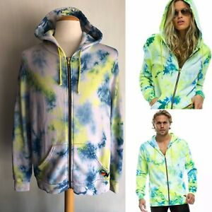 AVIATOR NATION Official Adult Unisex Neon Yellow Tie Dye Zip Hoodie Size Large