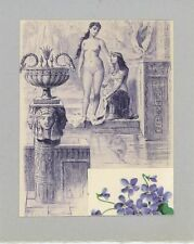 ANTIQUE VINTAGE ARTISTIC NUDE WOMAN EYGPTIAN POOL VIOLETS FLOWERS COLLAGE  PRINT