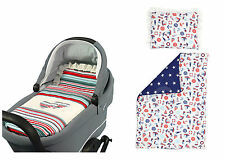 BASSINET Full Duvet Set Reversible PRAM Moses Basket - white nautical / SM star