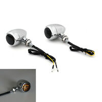 Motorcycle Bullet Turn Signals Indicators For Chopper Cafe Racer CR BK