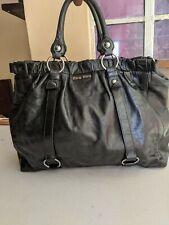 Authentic MIU MIU Black Vitello Lux Leather Gathered Tote Bag