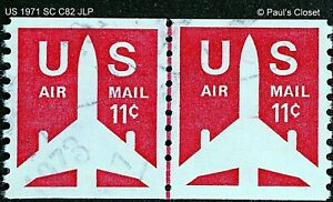 US SC C82 JET AIRLINER AIR MAIL COIL VERT. JOINT LINE PAIR 11¢ UNG OG 1971 VFINE