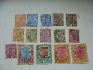 15 stamps from India KGV up to 5 Rupee all fine used.