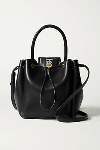 Burberry Peony TB Leather Bucket Bag In Black Authentic