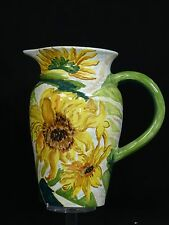 LARGE CAROLYN BRADY DESIGN FOR GRAZIA DERUTA FLORAL ART POTTERY PITCHER ~ 11""