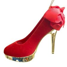 Red & Gold High Heels Shoe Christmas Tree Ornament Bow Girly Shopping R5