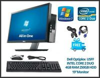 "Dell Optiplex All in One USFF Core 2 Duo 19"" TFT 4GB RAM 250GB   Win 7 DVD RW.."