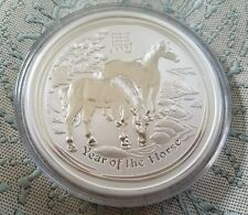 2014 $8 Australia Lunar Year of the Horse 5 Oz Fine Silver Coin Perth Mint S II