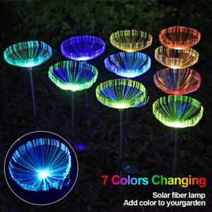Solar Powered LED Color Changing Jellyfish Stake Fairy Lights Garden Path Lamps