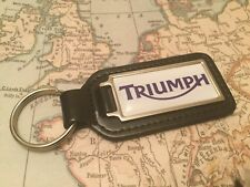 TRIUMPH Quality Black Real Leather Keyring Oblong