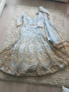 Long  grey and gold Party  wedding Maxi Pakistani Dress